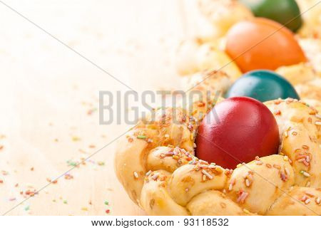 easter sweet bread with colorful eggs