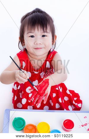 Asian Girl Painting Her Hand Using Drawing Instruments, Creativity Concept
