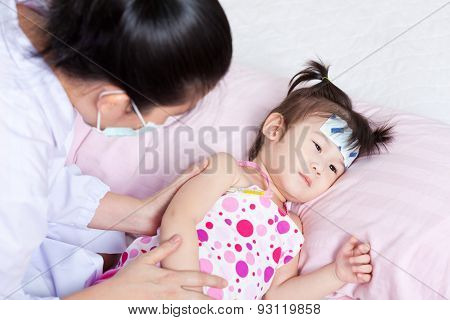 Sick Little Girl Nursed By A Pediatrician