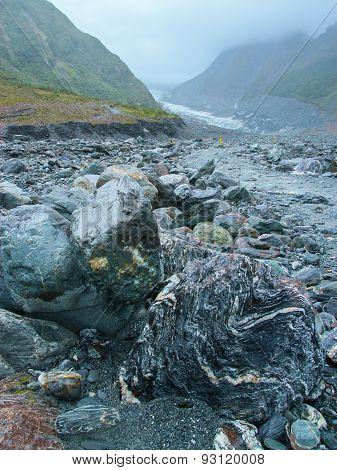 Rocks In Rain In Fox Glacier Valley, New Zealand