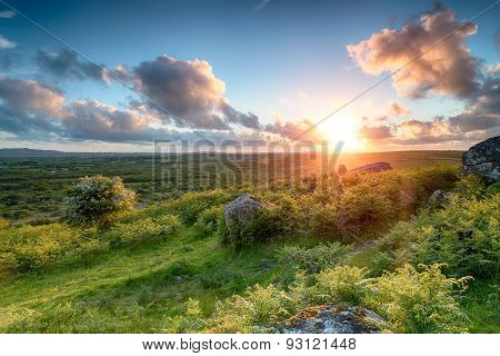 Sunset Over The Cornish Countryside