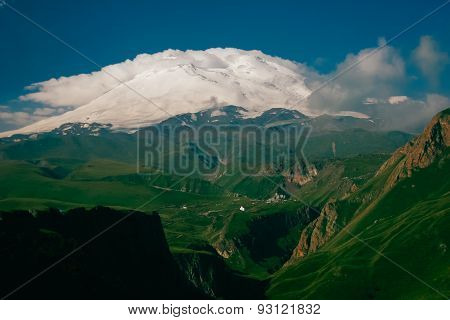 Landscape Of Elbrus Close On A Clear Day, Scenery Close Up Near The Top