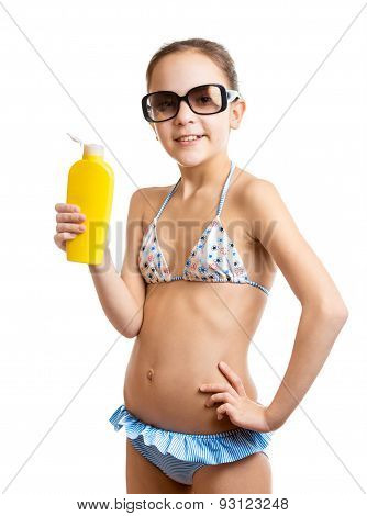 Portrait Of Happy Smiling Girl Posing With Sunblock Lotion