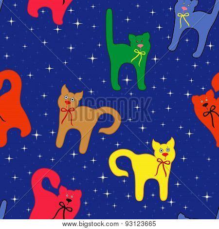 Funny Cats Over Starry Sky