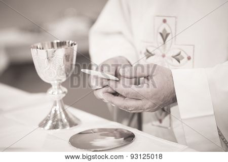 Catholic Priest In Church Wedding Marriage Ceremony