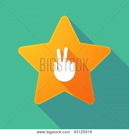 Star Icon With A Victory Hand