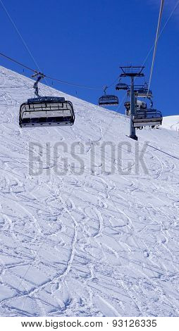 Empty Ski Cable Car At Snow Mountains Titlis Vertical