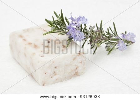 soap bar and rosemary branch