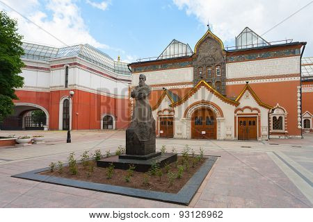 Pavel Tretyakov Monument And Tretyakov Gallery Building In Moscow