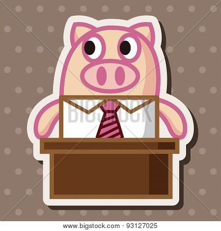 Animal Pig Worker Cartoon Theme Elements
