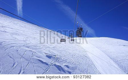 Landscape Of Suspended Ski Cable Car At Snow Mountains Titlis