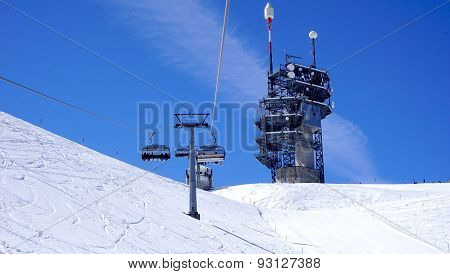 Suspended Ski Cable Car View And Station Titlis