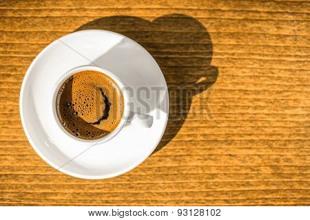 Top Down Morning Creativity Concept, Smiled Cup Coffee With Sunbeams, Closeup