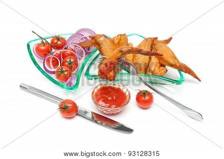 Smoked Wings, Cherry Tomatoes And Onion In A Glass Dish On A White Background