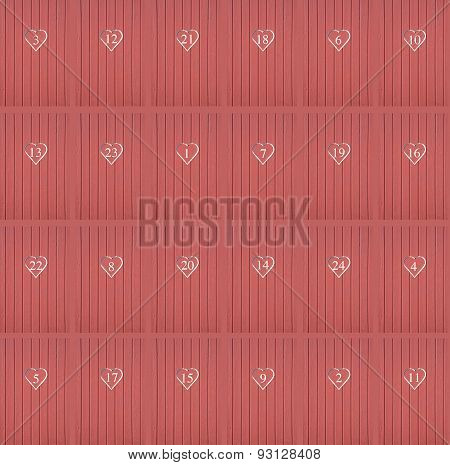Red hearts calendar doors