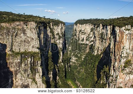 Canyon with rock walls in Brazil