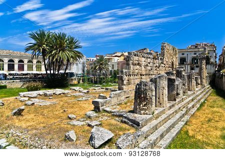 Temple of Apollo, ancient Greek monument in Ortigia, Syracuse, Sicily