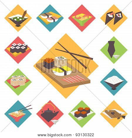 Sushi, Japanese cuisine, food icons set, flat design vector.