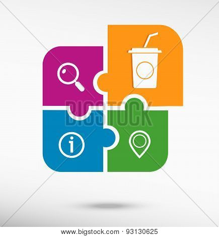 Soft Drink Icon On Colorful Jigsaw Puzzle