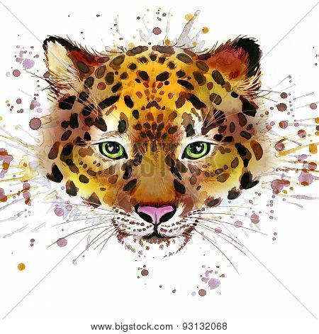 Leopard illustration with splash watercolor textured background