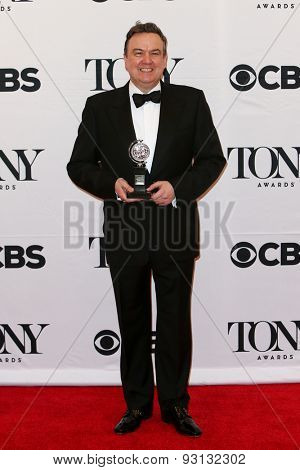 NEW YORK-JUN 7: Actor Richard McCabe holds the trophy at the American Theatre Wing's 69th Annual Tony Awards at Radio City Music Hall on June 7, 2015 in New York City.