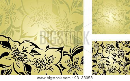 Green floral decorative holiday background set