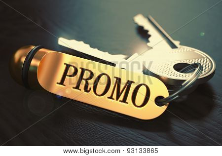 Promo Concept. Keys with Golden Keyring.