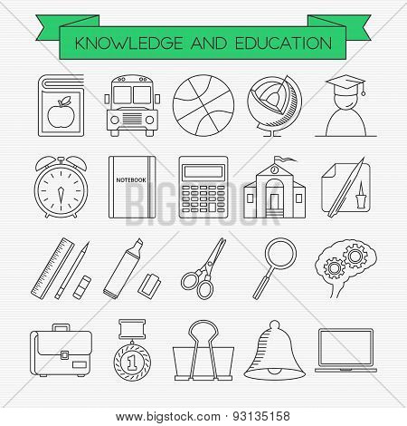 Knowledge And Education Line Icons Set