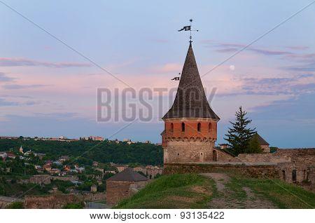 Full Moon Over The Medieval Castle In Kamenetz-podolsk. Ukraine