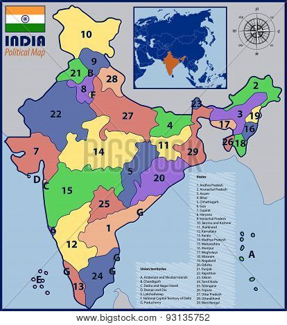 Political Map of India with Flag and Location