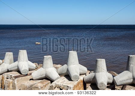 Concrete Breakwaters On The Bank Of Sea Gulf