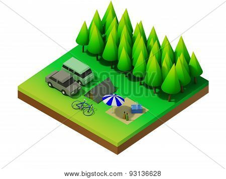 Isometric Forest Camping