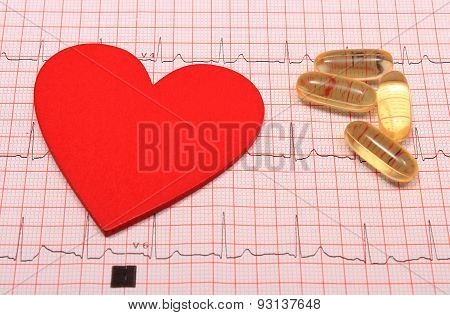 Electrocardiogram Graph Report, Tablets And Heart Shape