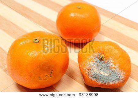 Fresh And Moldy Tangerines On Wooden Background
