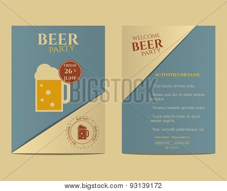 Beer Party Flyer Invitation Template With Glass Of Beer. Vintage Design. Best For Club, Pub Or Night