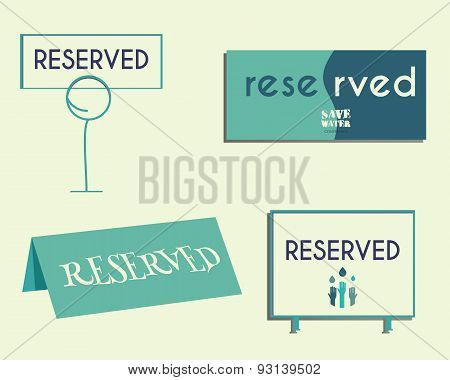 Reservation Sign Mock Up Template. Save Water Conference. Eco Theme. Isolated On Bright Background.