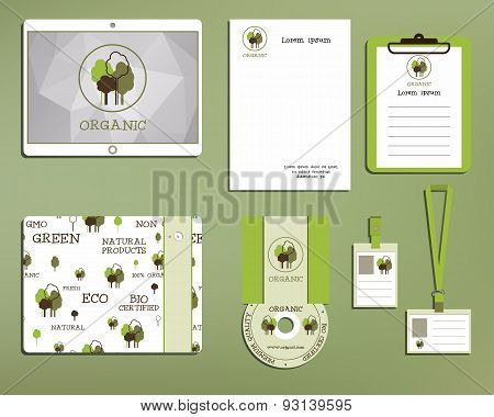 Green And Organic Corporate Identity Set Template With Tree Elements. Vector Company Style For Brand