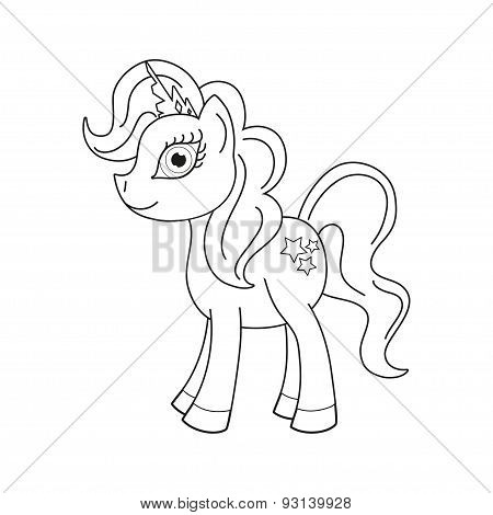 Vector illustration of cute horse princess, coloring book page for children