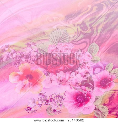Texture Of Print Fabric Striped Natural Flowers In Soft Color And Blur