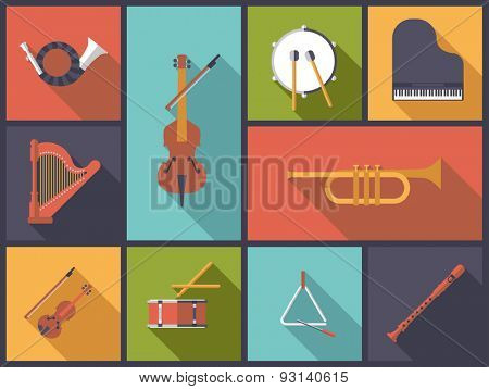 Classical Music Instruments Flat Icons Vector Illustration. Flat design illustration with various icons of instruments for classical music.