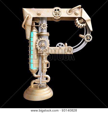 Mechanical alphabet made from iron.
