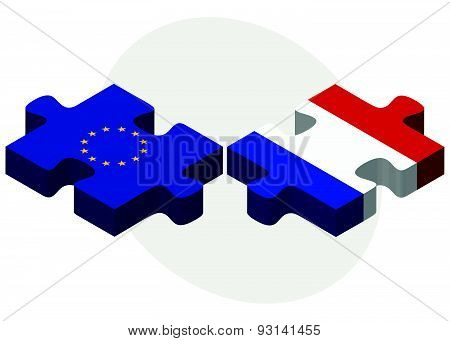 European Union And Paraguay Flags