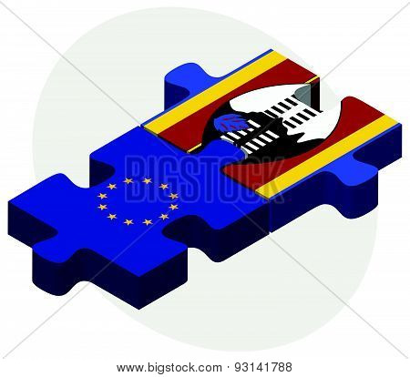 European Union And Swaziland Flags In Puzzle