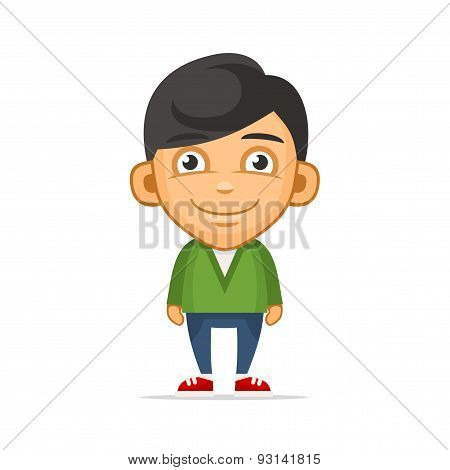 Smiling Boy Wearing Green Sweater. Vector