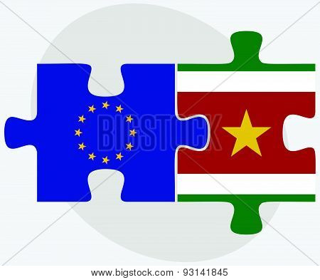 European Union And Suriname Flags