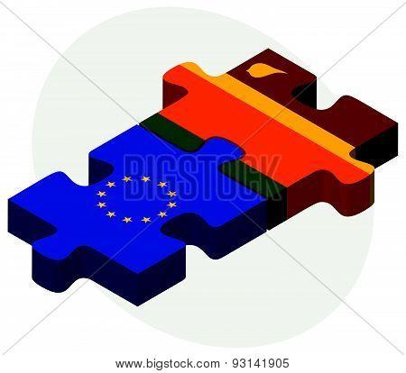 European Union And Sri Lanka Flags