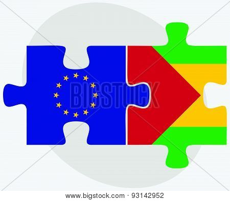 European Union And Sao Tome And Principe Flags