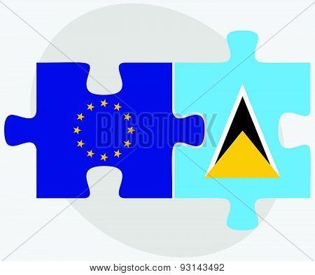 European Union And Saint Lucia Flags