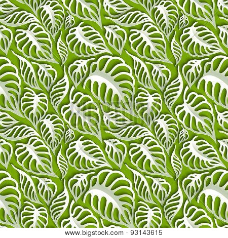 Vector Leaves 3d Seamless Pattern Background. Invitation cards decoration