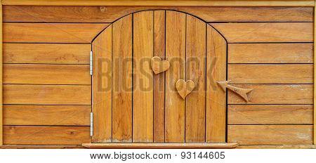 Wood Door And Wood Heart